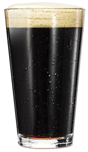 A picture of a dark beer in a pint glass with foam on top. White background.