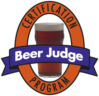 "A beer in a glass with designed words around it saying ""beer judge certification program."""