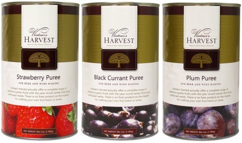 A picture of three different fruit purees