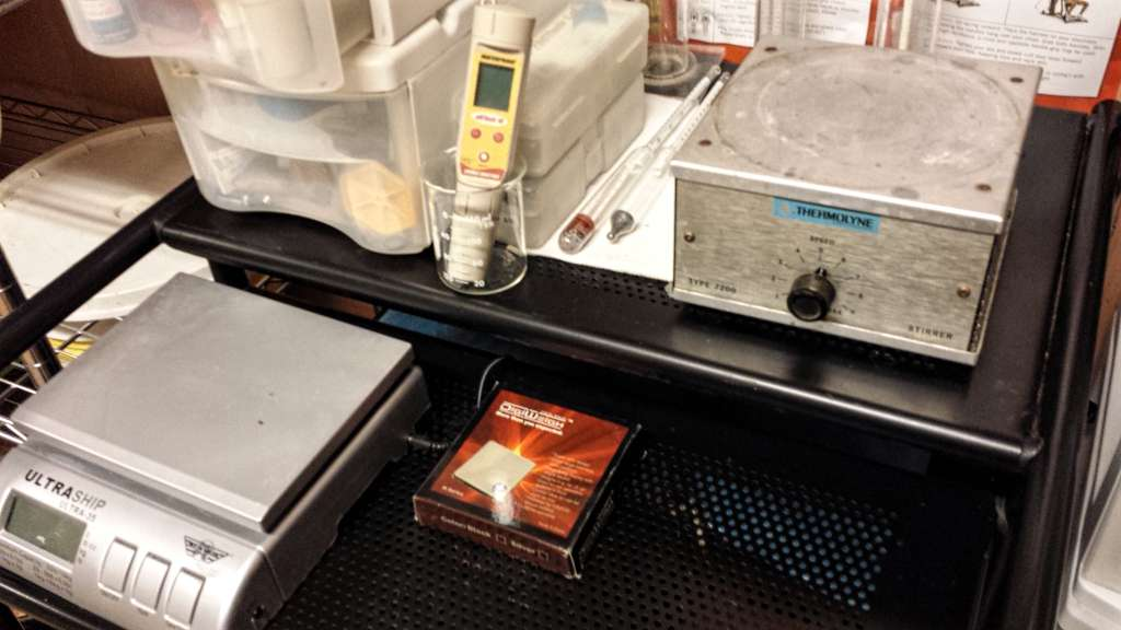 Closeup of my Lab Setup with scales, stirplate, etc.