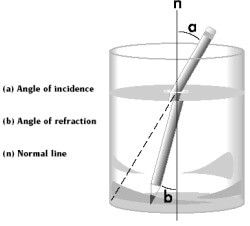 A diagram showing how a refractometer works.